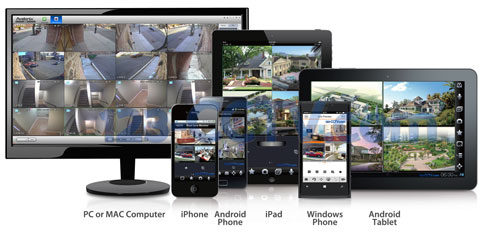 123CCTV camera systems support remote viewing via iPhone, iPad, Android devices, PC or MAC Computers, and windows phones