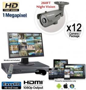 12 Camera HD System, Night Vision Security Cameras 260ft