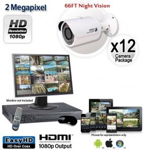 12 Camera 2MP 1080p Outdoor Bullet Camera System