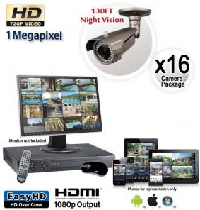Megapixel Outdoor Camera System, 16 Bullet Cameras 130ft Night Vision
