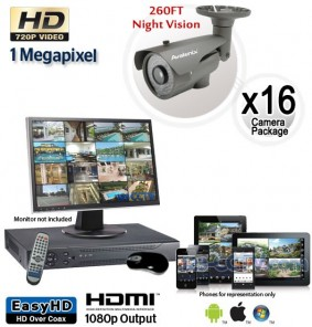 16 Camera HD System, Night Vision Security Cameras 260ft