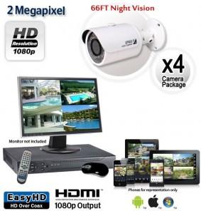 4 Camera 2MP 1080p Outdoor Bullet Camera System