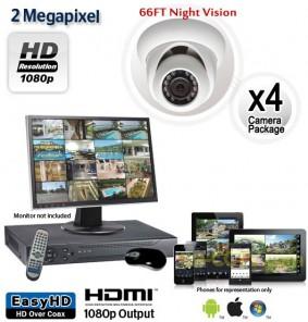 4 Camera 2 MP 1080p Dome Camera System