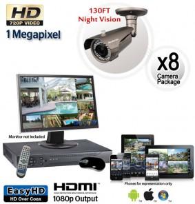 Megapixel Outdoor Camera System, 8 Bullet Cameras 130ft Night Vision