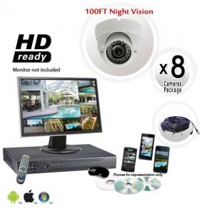 8 Dome Camera System Vandal Proof 700TVL Night Vision