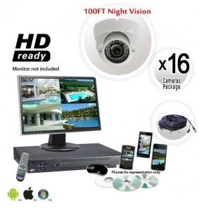 16 Camera System with 700TVL Dome Vandal Proof Cameras