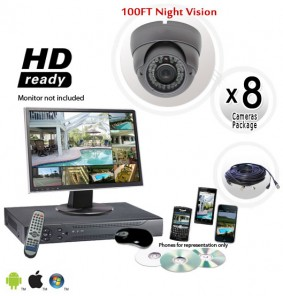 8 Camera Dome System with 700TVL Vandal Proof Cameras