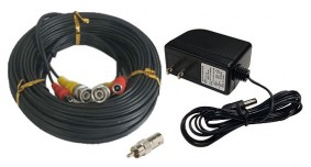 100ft Camera Pack - 100ft All-in-one Video Power Cable and 2 AMP Power Supply