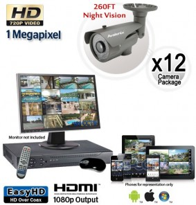 12 Camera HD System, Night Vision Security Cameras 260ft