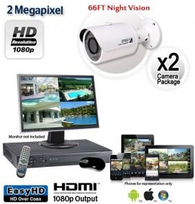 2 Camera 2MP 1080p Outdoor Bullet Camera System