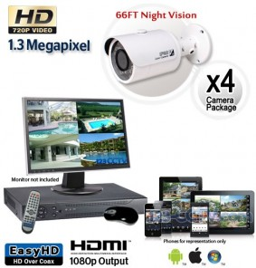 4 Cam HD Security Camera System