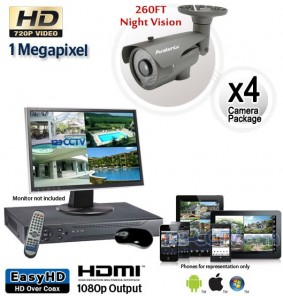 4 Camera HD System, Night Vision Security Cameras 260ft