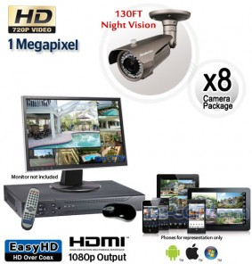 Megapixel Outdoor Camera System, 8 Bullet Cameras 130ft Night Vision