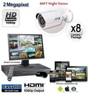 8 Camera 2MP 1080p Outdoor Bullet Camera System