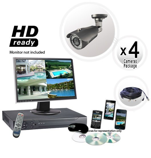 4 Security Camera System with 700TVL Cameras 130ft Night Vision and H264 DVR
