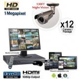 Megapixel Outdoor Camera System, 12 Bullet Cameras 130ft Night Vision