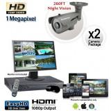 2 Camera HD System, Night Vision Security Cameras 260ft