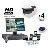 4 Camera Surveillance System with 700 TVL 200ft IR Cameras