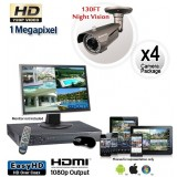 Megapixel Outdoor Camera System, 4 Bullet Cameras 130ft Night Vision