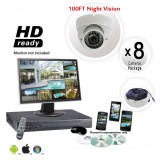 8 Dome Camera System Vandal Proof 700TVL Night Vision