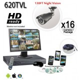 16 Security Camera System with 620TVL 130ft Night Vision Cameras