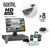 8 Camera Security System with 600TVL Cameras 130ft Night Vision